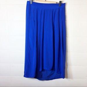 Madewill Royal Blue Pleated Silk Skirt